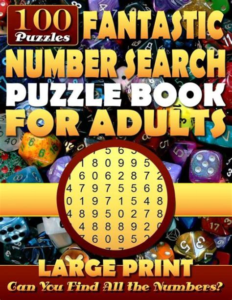 Number Search Puzzle Book For Adults Large Print Number Search Books For Seniors And Adults Can You Find All The Numbers
