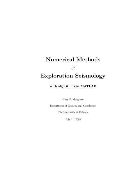 Numerical Methods Of Exploration Seismology With Algorithms In Matlab