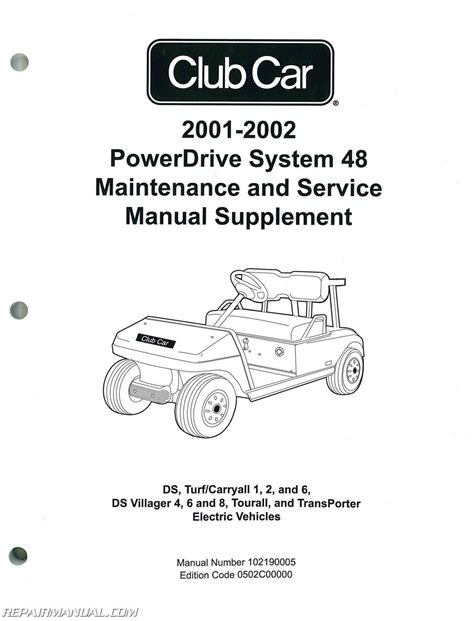 Official 2000 Club Car Powerdrive System 48 Maintenance And Service Manual Supplement