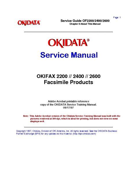 Okidata Okifax 2200 2400 2600 Facsimile Products Service Repair Manual
