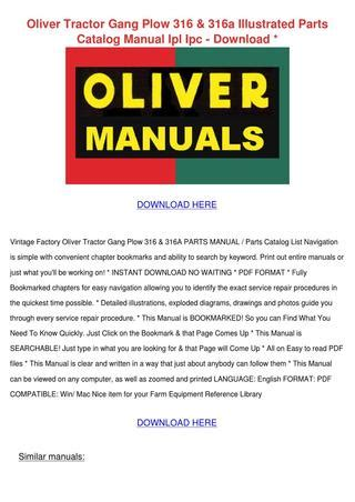 Oliver Tractor Gang Plow 316 316a Illustrated Parts Catalog Manual Ipl Ipc