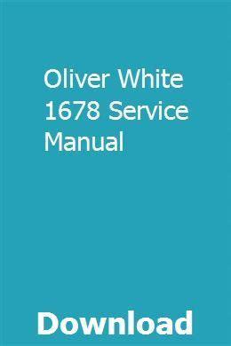 Oliver White 1678 Service Manual