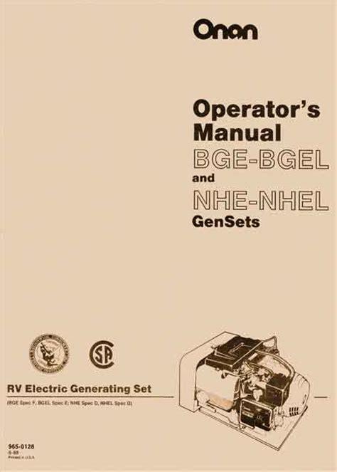 Onan Grca 12017 Genset Operation Manual