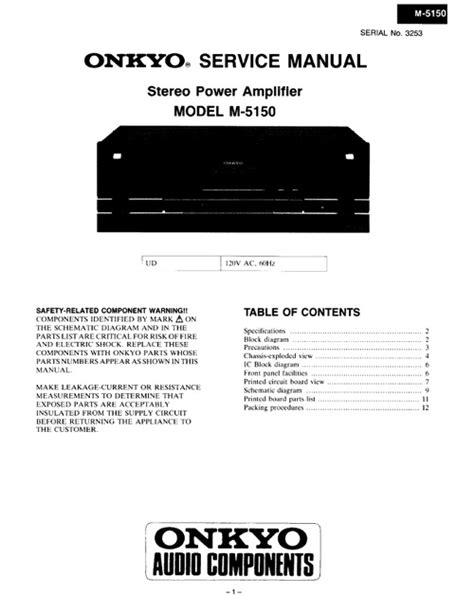 Onkyo M 5160 M 5160p Power Amplifier Service Manual