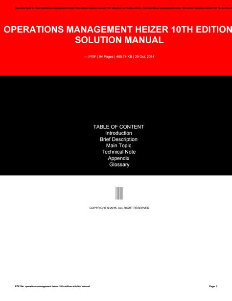 Operation Management 10th Solution Manual