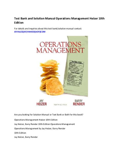 Operations Management Heizer 10th Edition Test Bank