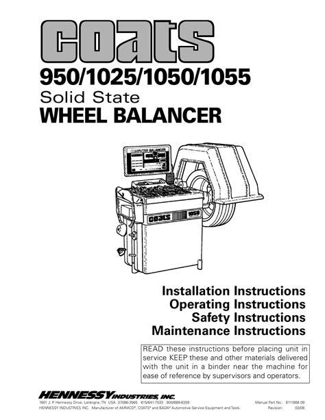 Operators Manual For Coats 1055 Balancer