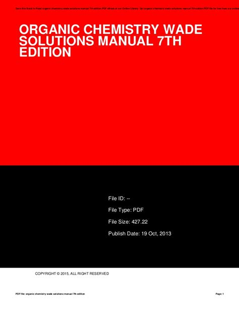 Organic Chemistry Solution Manual Wade 7th