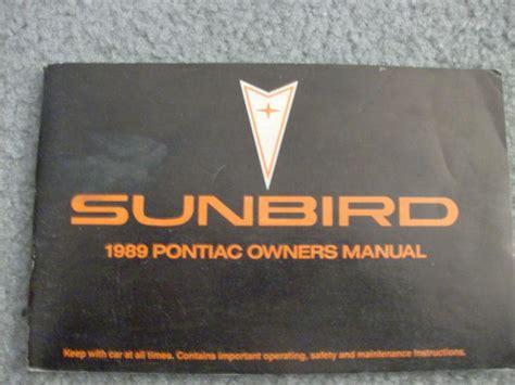 Owners Manual For 1989 Sunbird Corsair