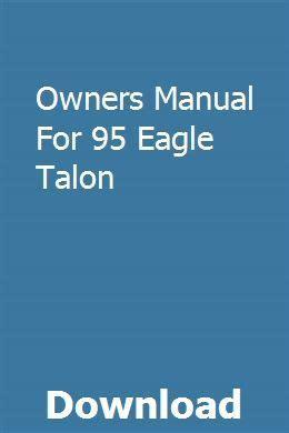 Owners Manual For 95 Eagle Talon