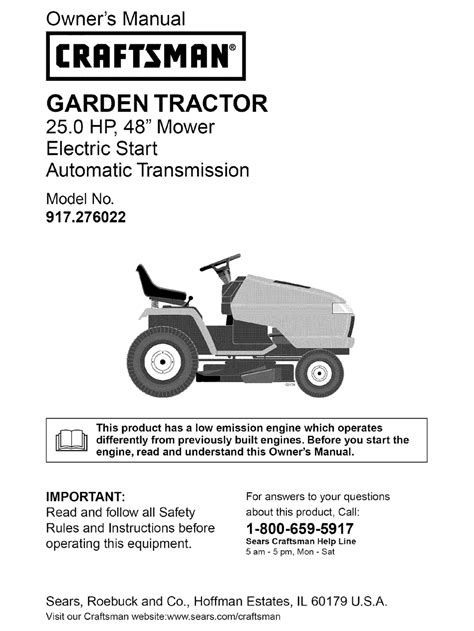 Owners Manual For Craftsman Lawn Mower 917 378381