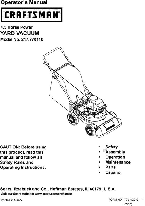 Owners Manual For Craftsman Lawn Vaccuum