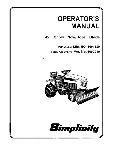 Owners Manual For Snow Plow