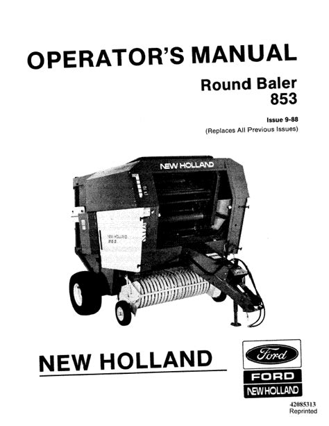 Owners Manual New Holland 853 Baler