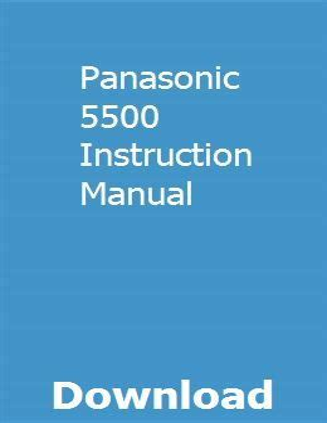 Panasonic 5500 Instruction Manual