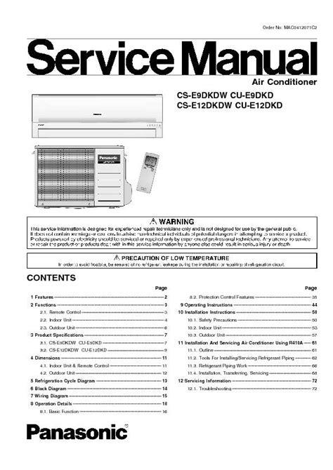 Panasonic Cs E9dkdw Cu E9dkd Air Conditioner Service Manual