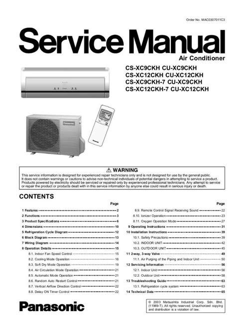 Panasonic Cs Xc9ckh Cs Xc12ckh Series Air Conditioner Service Manual Repair Guide