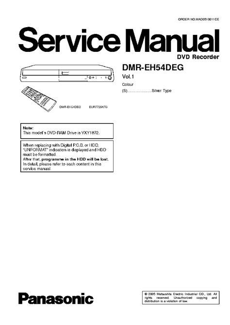 Panasonic Dmr Eh54 Eh54d Eh54deg Service Manual