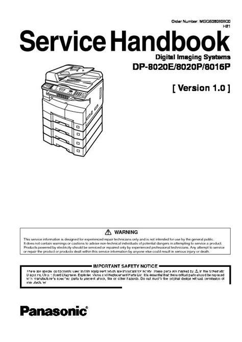 Panasonic Dp 8016p 8020e 8020p Service Manual Repair Guide