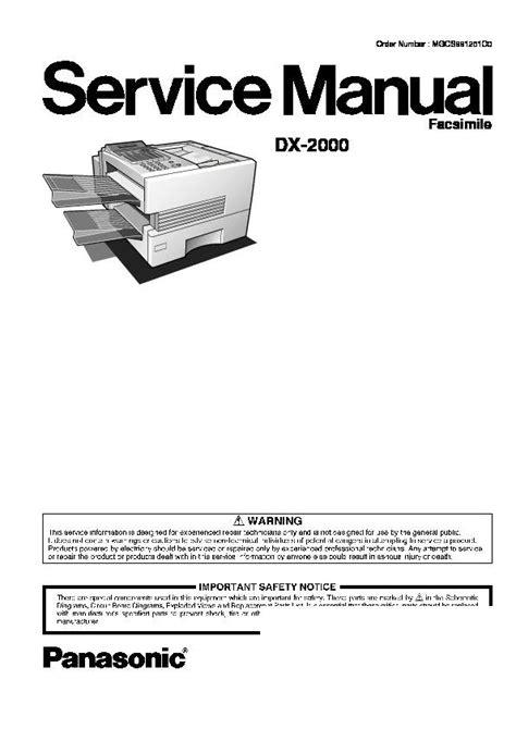 Panasonic Dx 2000 Fax Parts And Service Manual