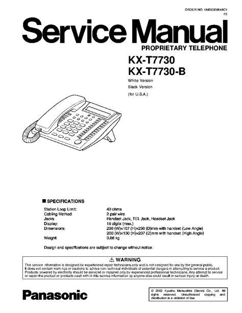 Panasonic Kxt7730 Manual