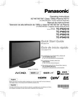 Panasonic Tc P54g10 Plasma Hdtv Service Manual