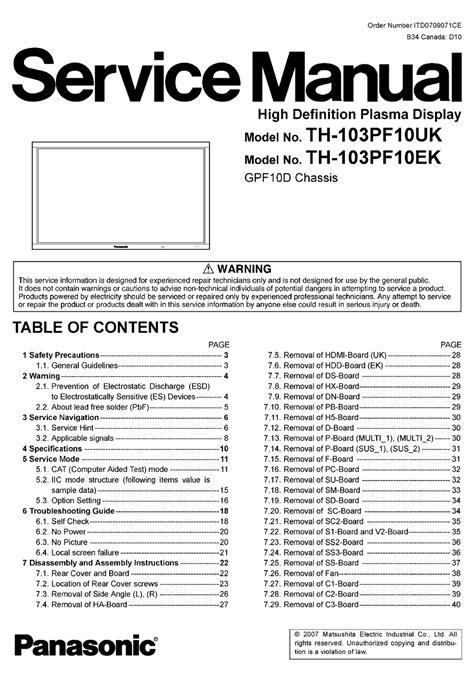 Panasonic Th 103pf10uk Service Manual
