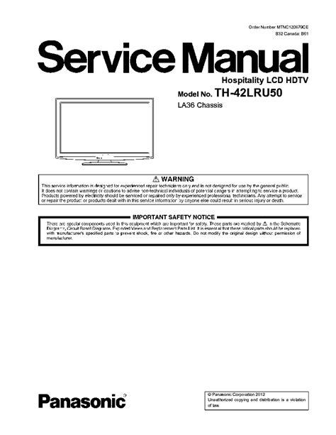Panasonic Th 42lru50 Lcd Hdtv Service Manual
