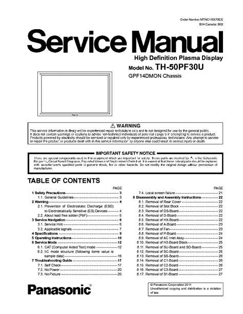Panasonic Th 50pf30u Plasma Tv Service Manual