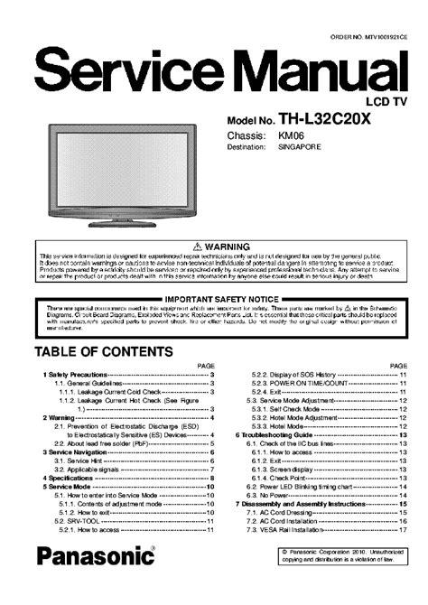 Panasonic Th L32c20m Service Manual