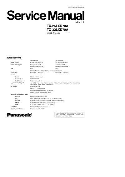 Panasonic Tx 26lxd70a Tx 32lxd70a Lcd Tv Service Manual