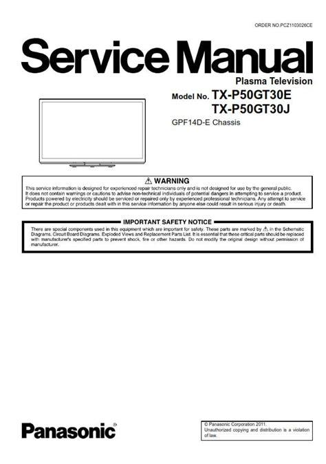 Panasonic Tx P50gt30 P50gt30e Service Manual Repair Guide