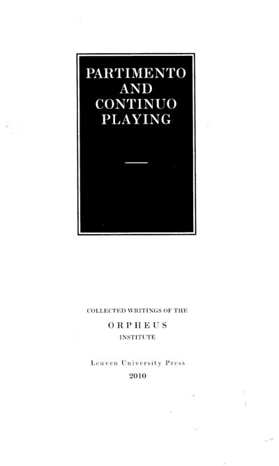 Partimento and Continuo Playing in Theory and in Practice-
