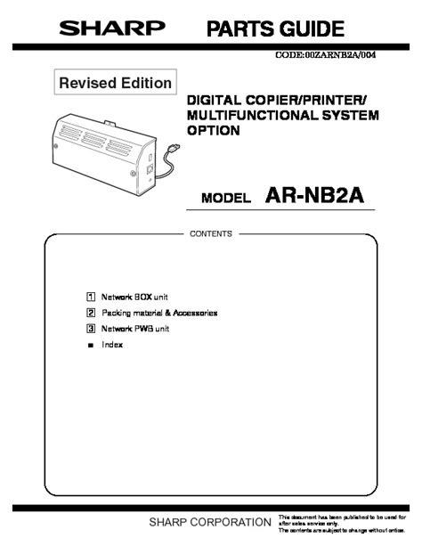 Parts List Manual Sharp Ar Rf2 Printer