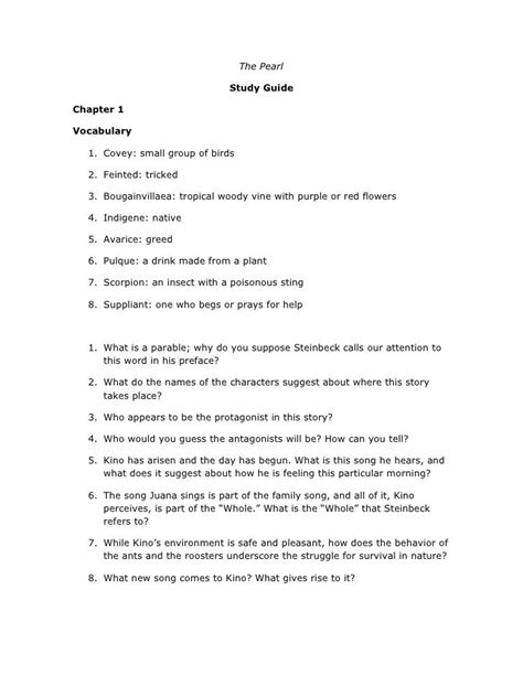 Pearl Study Guide Answers