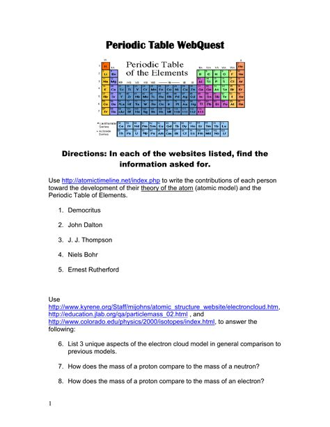 Periodic Table Web Quest Answer Key