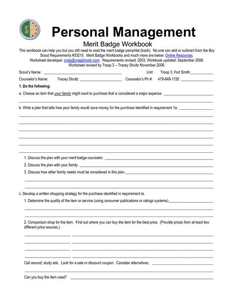 Personal Management Merit Badge Workbook Answers