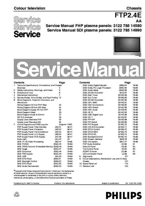 Philips Ftp24e Aa Chassis Plasma Tv Service Manual