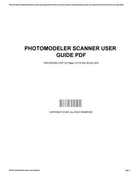 Photomodeler Scanner User Guide