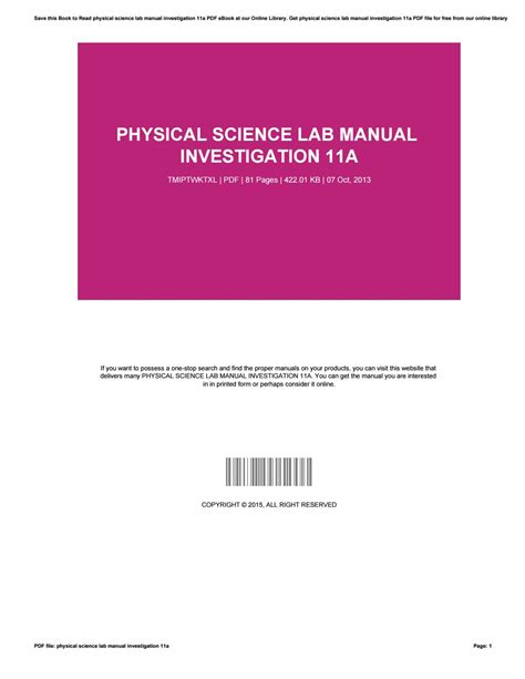 Physical Science Lab Manual Investigation 6b