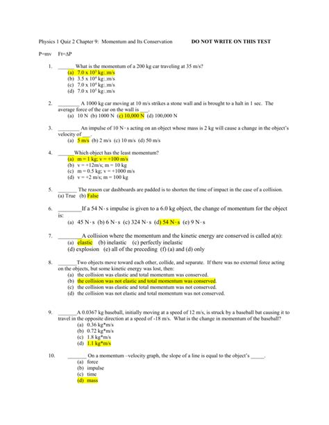 Physics Momentum And Its Conservation Study Guide