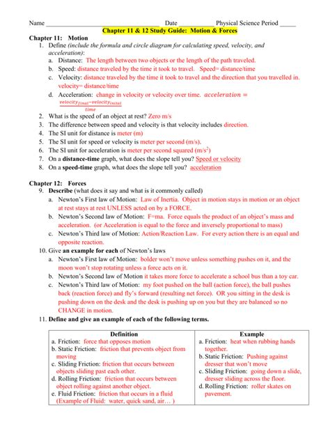 Physics Study Guide Representing Motion