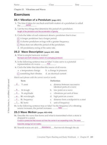 Physics Vibrations And Waves Study Guide Key