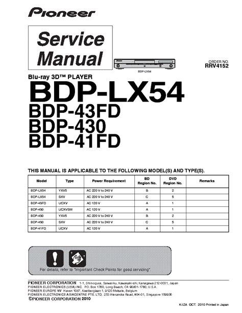 Pioneer Bdp 430 Service Manual Repair Guide