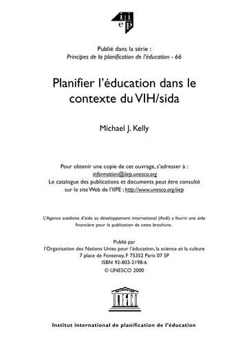 Planifier L Education Dans Le Contexte Du Vih