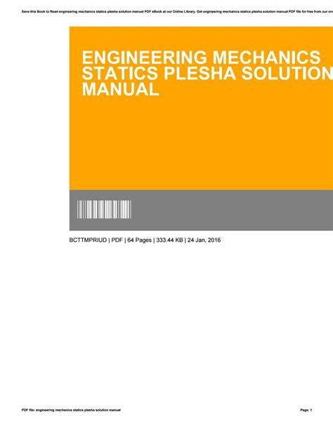 Plesha Statics Solution Manual