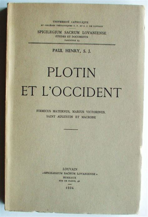 Plotin Et L Occident Firmicus Maternus