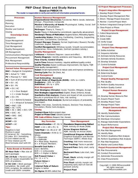 Pmp Exam Formula Study Guide Cheat Sheet