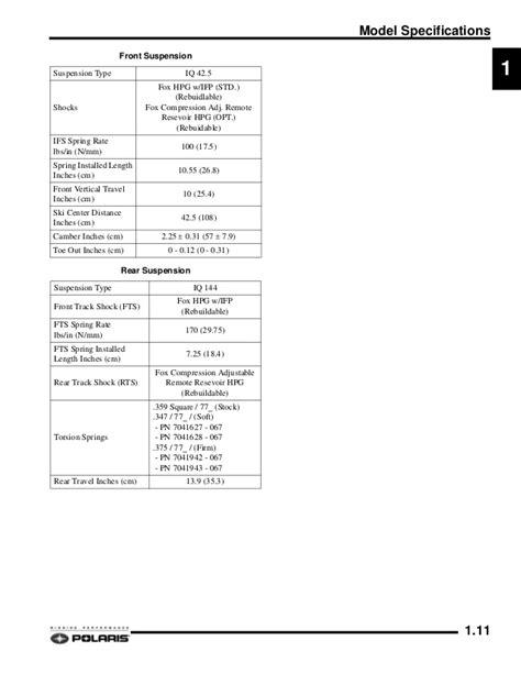 Polaris 2008 600 Iq Touring Service Shop Repair Manual