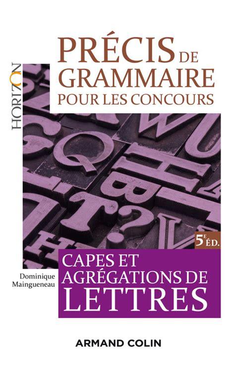 Precis De Grammaire Pour Les Concours Hors Collection